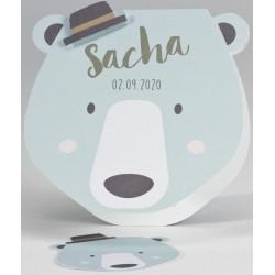 Faire-part naissance original tête d'ours chapeau BUROMAC Pirouette 2017 507.061