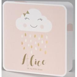 Faire-part naissance chic rose clair nuage pluie BUROMAC Pirouette 2017 507.027
