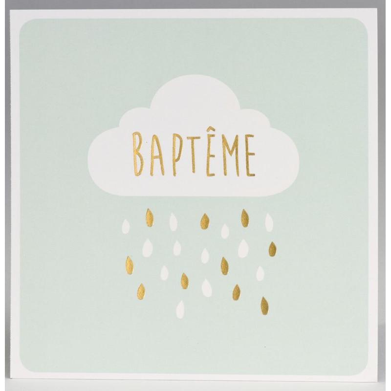 Faire Part Baptême Vert Nuage Pluie Dorure Buromac Pirouette 2017