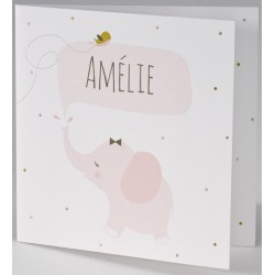 Faire-part naissance humoristique éléphant rose BUROMAC Pirouette 2017 507.133