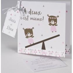 Faire-part naissance humoristique ourson rose jumelles BUROMAC Pirouette 2017 507.018
