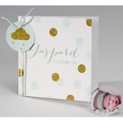 Faire-part naissance blanc vert motifs dorés à paillettes BUROMAC Pirouette 2017 507.045