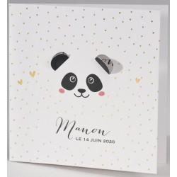 Faire-part naissance chic pois dorés panda BUROMAC Pirouette 2017 507.009