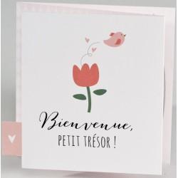 Faire-part naissance original blanc rose nature fleur oiseau BUROMAC Pirouette 2017 507.002