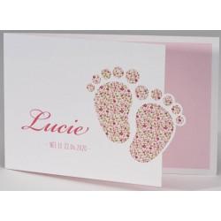 Faire-part naissance élégant blanc rose pieds fleurs BUROMAC Pirouette 2017 507.111