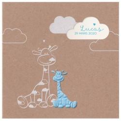 Faire-part naissance tendance papier kraft girafe bleue Belarto Welcome Wonder 717002-509L