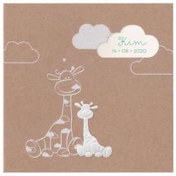 Faire-part naissance tendance papier kraft girafe blanche Belarto Welcome Wonder 717002-588L