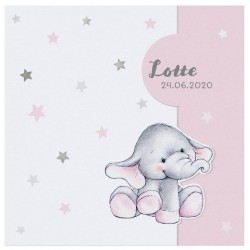 Faire-part naissance câlin peluche éléphant rose Belarto Welcome Wonder 717010