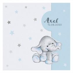 Faire-part naissance câlin bleu étoiles peluche éléphant Belarto Welcome Wonder 717011