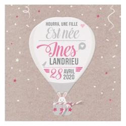 Faire-part naissance tendance montgolfière rose lapin Belarto Welcome Wonder 717043