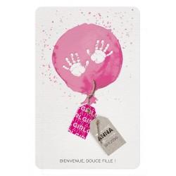 Faire-part naissance fille ballon rose aquarelle mains Belarto Welcome Wonder 717017