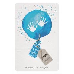 Faire-part naissance garçon ballon bleu aquarelle mains Belarto Welcome Wonder 717016