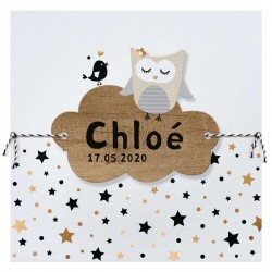 Faire-part naissance mixte blanc chouette étoiles dorées Belarto Welcome Wonder 717042