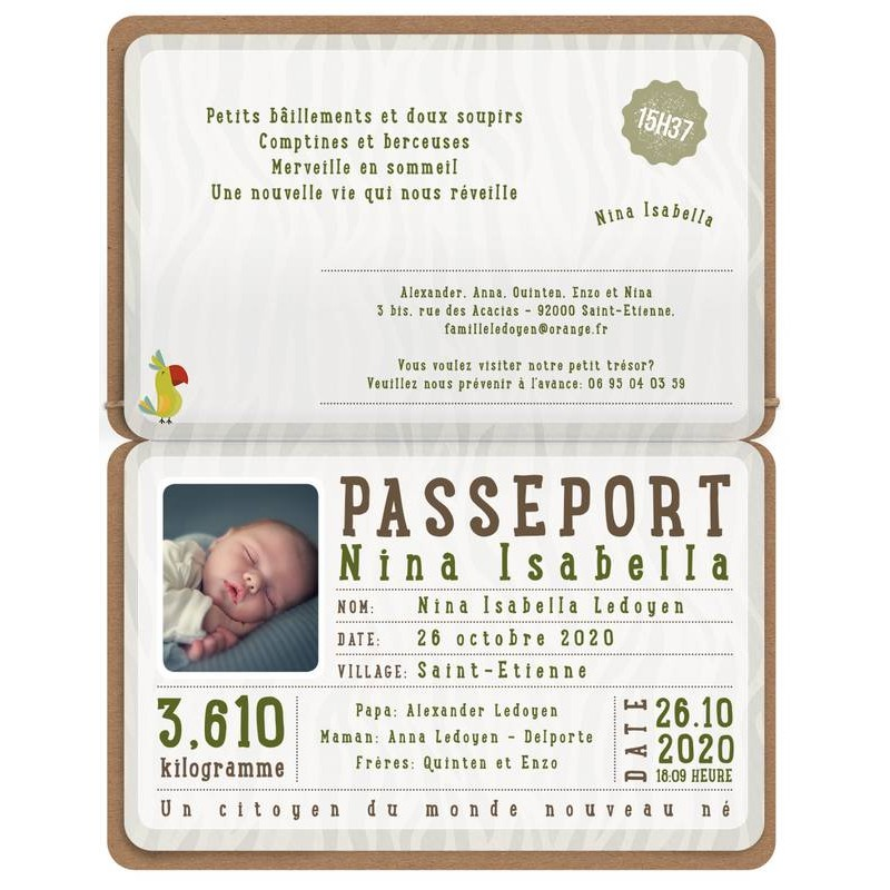 Favori part naissance original passeport animaux photo Belarto Welcome  AB03