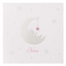 Faire-part naissance classique crème bébé lune nacre Belarto Welcome Wonder 717046
