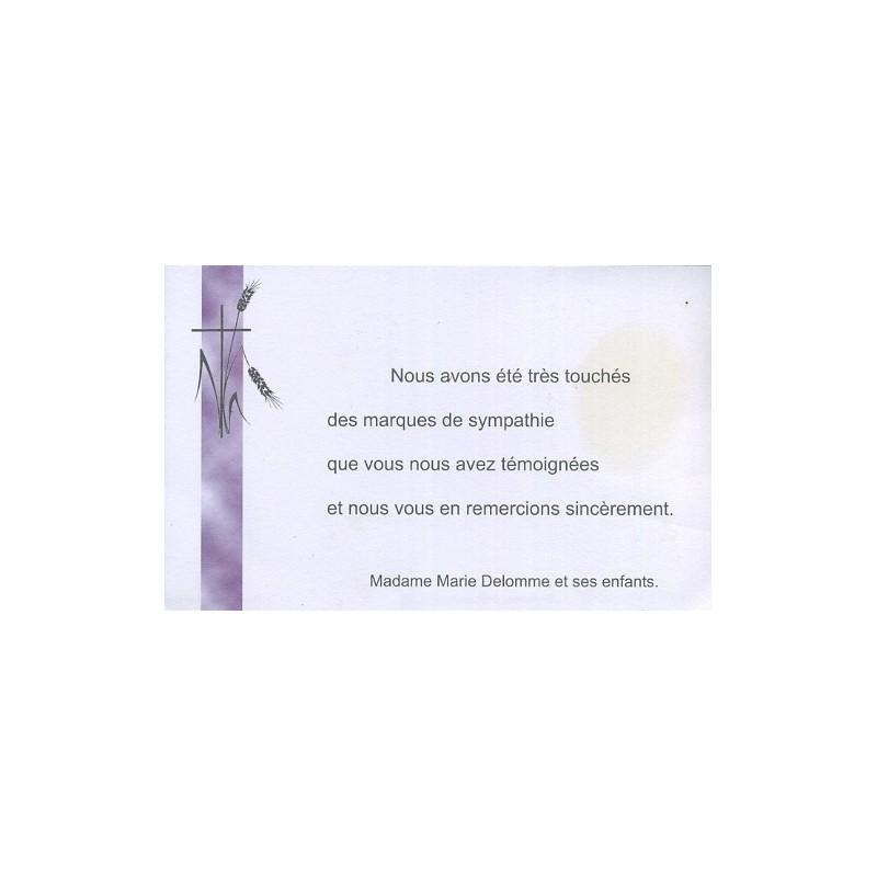 Carte De Remerciement Deces Deuil Funerailles Condoleances Obseques REGALB LA155