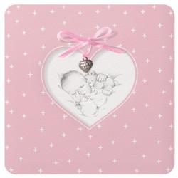 Faire-part naissance classique rose coeur bébé Belarto Welcome Wonder 717022