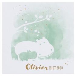 Faire-part naissance vert pastel hippopotame dorure Belarto Welcome Wonder 717039