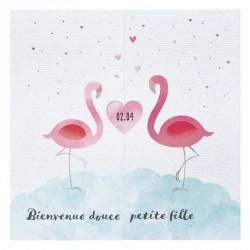 Faire-part naissance original flamant rose nuage coeurs argentés Belarto Welcome Wonder 717049
