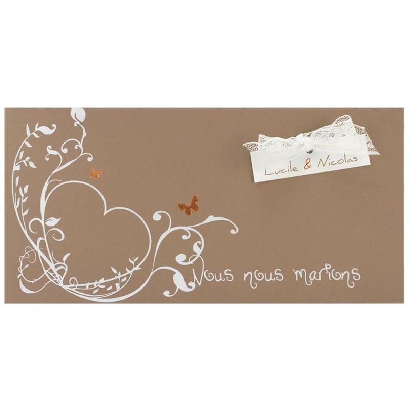 faire part mariage marron papillons coeur dentelle regalb. Black Bedroom Furniture Sets. Home Design Ideas