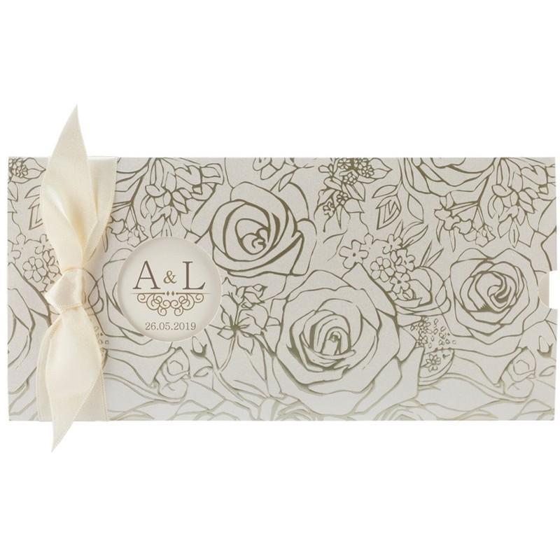 faire part mariage l gant cr me fleurs vernies regalb toi. Black Bedroom Furniture Sets. Home Design Ideas