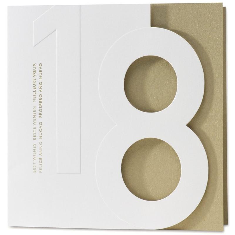 carte de voeux originale blanche dor e d coupe en huit buromac. Black Bedroom Furniture Sets. Home Design Ideas
