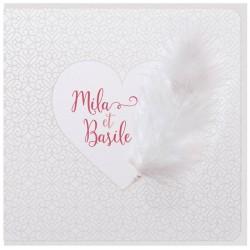 Faire part mariage poétique crème nacre plume coeur Belarto Yes We Do ! 728017-W
