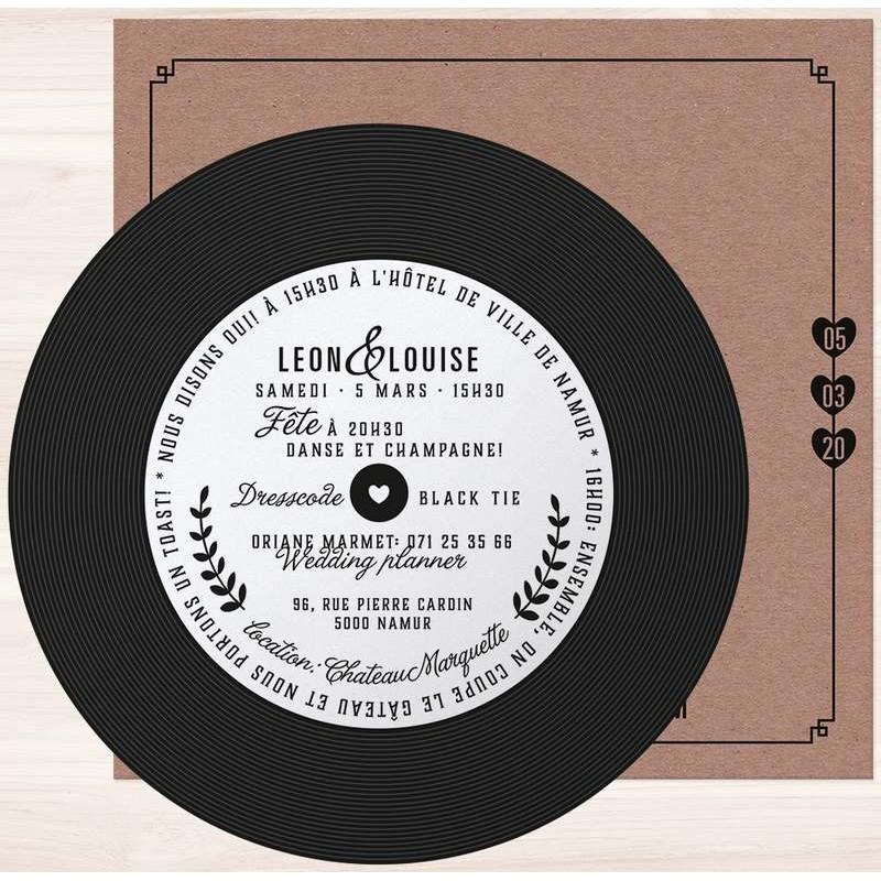 Assez part mariage originale disque style vinyle Belarto Yes We Do ! 728018 XN56