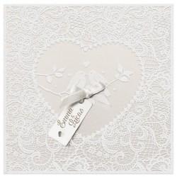 Faire part mariage élégant poétique suédine coeur oiseaux blanc cassé Belarto Yes We Do ! 728008