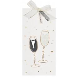 Faire part mariage original festif crème flûtes dorées Belarto Yes We Do ! 728013