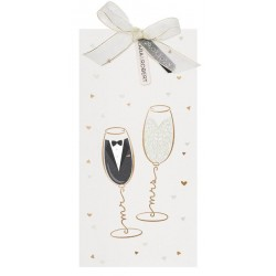Faire part mariage original festif crème flûtes dorées Belarto Yes We Do ! 728013-W