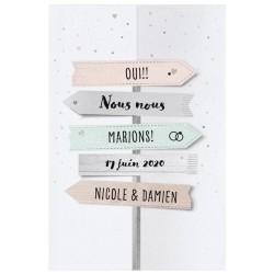 Faire part mariage original pancartes voyage couleurs pastelles Belarto Yes We Do ! 728000-W