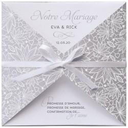 Faire part mariage chic élégant gris argenté suédine ruban Belarto Yes We Do ! 728029-W