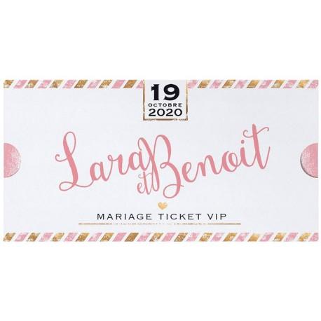 Faire part mariage original billet VIP rose doré Belarto Yes We Do ! 728021
