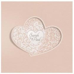 Faire part mariage chic élégant vieux rose irisé coeur Belarto Yes We Do ! 728024-W