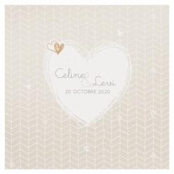 Faire part mariage classique crème nacre coeurs dorés Belarto Yes We Do ! 728010-W