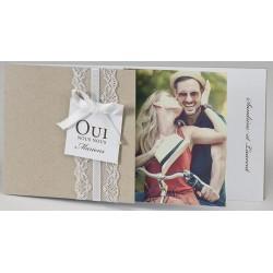 Faire-part mariage chic romantique dentelle photo BUROMAC Papillons 2018 108.030