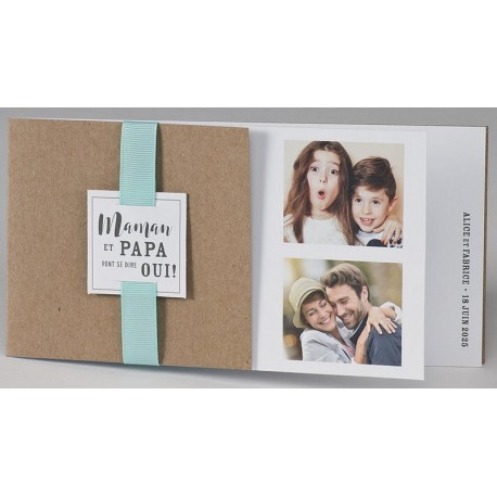 Faire-part mariage tendance kraft ruban vert turquoise BUROMAC Papillons 2018 108.032