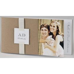 Faire-part mariage tendance kraft ruban beige BUROMAC Papillons 2018 108.033
