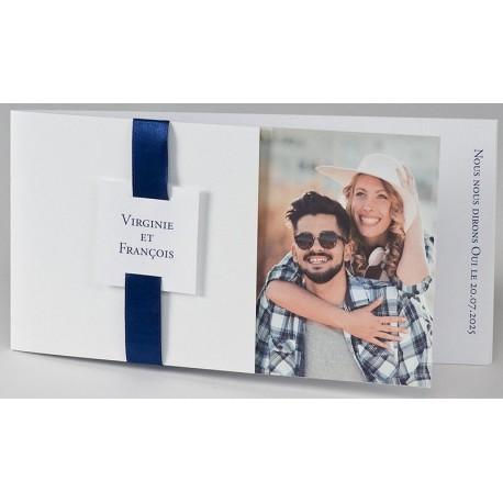Faire-part mariage tendance chic blanc ruban bleu photo BUROMAC Papillons 2018 108.035