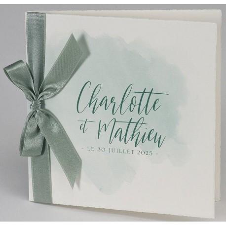 Faire-part mariage élégant pur coton aquarelle ruban vert BUROMAC Papillons 2018 108.037