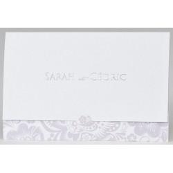 Faire-part mariage élégant blanc parme motifs floraux BUROMAC Papillons 2018 108.073