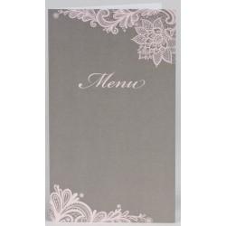 Menu mariage chic gris taupe motif dentelle rose BUROMAC Papillons 2018 208.066