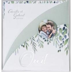 Faire-part mariage nature original camaïeu vert feuillage BUROMAC Papillons 2018 108.007