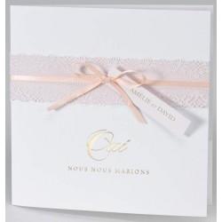Faire-part mariage élégant poétique blanc dentelle ruban roses BUROMAC Papillons 2018 108.087