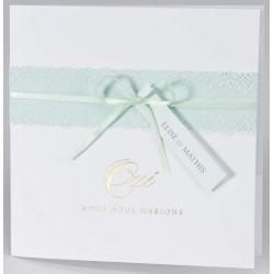 Faire-part mariage classique poétique blanc dentelle ruban vert pastel BUROMAC Papillons 2018 108.086