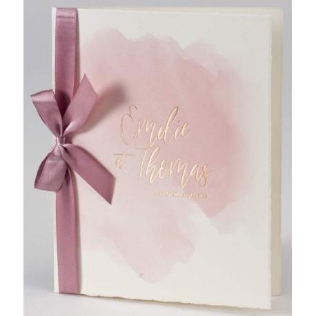 Faire-part mariage raffiné élégant pur coton aquarelle ruban rose BUROMAC Papillons 2018 108.036