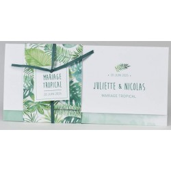 Faire-part mariage nature feuillage aquarelle ruban vert BUROMAC Papillons 2018 108.054
