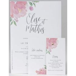 Faire-part mariage nature fleur rose aquarelle BUROMAC Papillons 2018 108.022