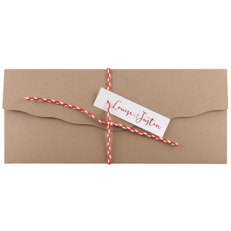 faire part mariage nature kraft lacet rouge blanc regalb toi moi jm3486. Black Bedroom Furniture Sets. Home Design Ideas